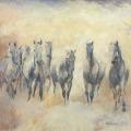 Pferdemalerei Pferdeherde Nebel