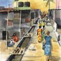 Aquarell Straßenszene in Daressalaam