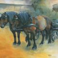 Pferdemalerei Kaltblutgespann