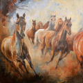 Pferdemalerei Pferdeherde Abend