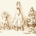 Pferde gezeichnet Weihnachten