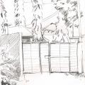 Bleistiftzeichnung Hoftor in Ubungo