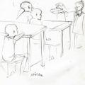 Bleistiftzeichnung in der Schule