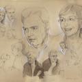 Familienportrait gezeichnet mit Bleistift