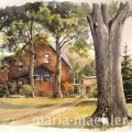 Landschaftsmalerei, altes Haus